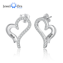 JewelOra Customized Name Engraved Earrings with Cubic Zirconia Elegant Heart Stud Earrings for Women Personalized Birthday Gifts