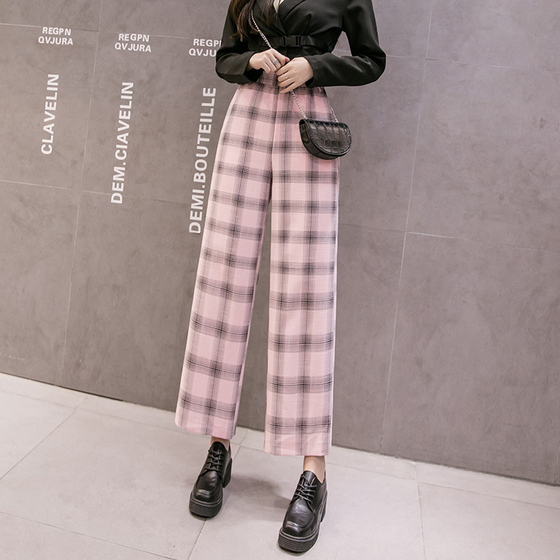 Elastic High Waist Trousers Womens Chiffon Plaid Wide Leg Pants Female Summer Loose Pants Women Korean Thin Casual Pants Women