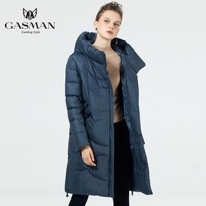 Image 4 - GASMAN 2019 נשים החורף שחור מעיל בתוספת גודל אופנה דובון סלעית חם מעילי מעילי נקבה ארוך המשאף למטה מעיל 19022