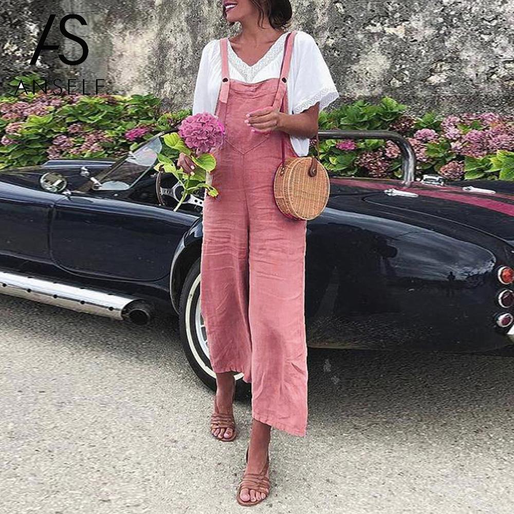 Herbst Vintage Frauen Overall Baumwolle Leinen Breite Bein Ärmel Taschen Strampler Volle Länge Reine Farbe Plus Größe Overalls