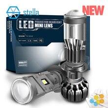 Stella projecteur dobjectif H7/H4 LED, phare de moto/voiture, phare de lentille, 3000k, 4300k, 6000k, 8000k, super turbo led, avec lentille h7, phare