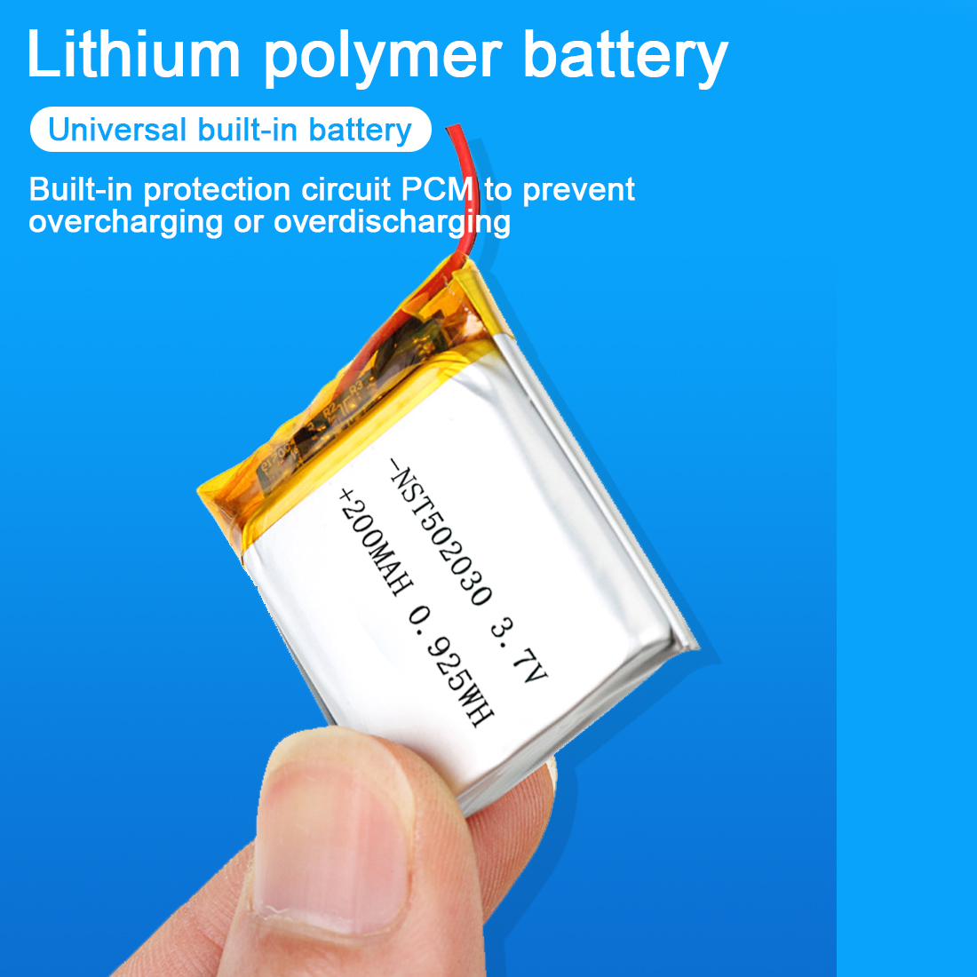 200mAh 250mAh <font><b>502025</b></font> Lithium Polymer Rechargeable <font><b>Battery</b></font> 3.7V Li-Po Li-ion <font><b>Battery</b></font> For MP3 MP4 Toy Speaker Tachograph POS GPS image