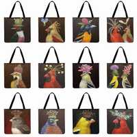 Women Beach Bag Painting Bird With Flower Printed Tote Bag Linen Febric Casual Tote Lady Shoulder Bag Foldable Shopping Bag