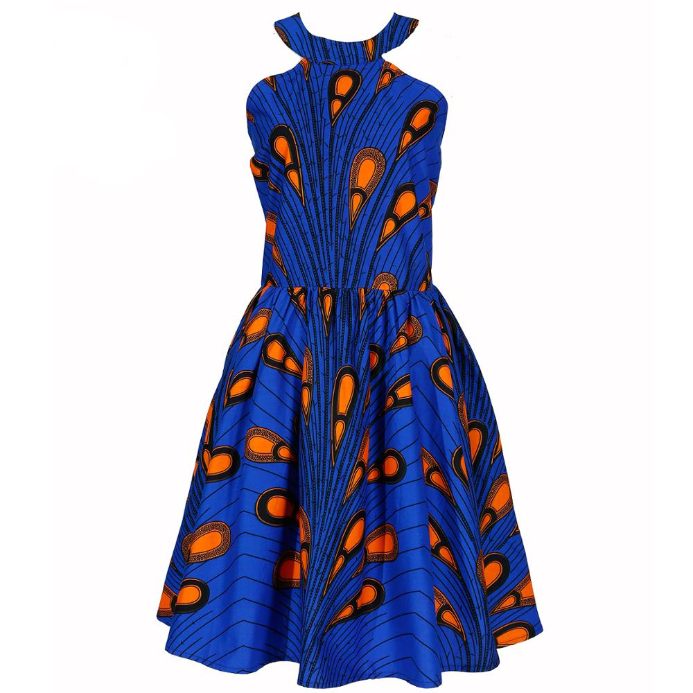 African Dresses For Women Sexy Flower Ankara Print Halter Dress Cotton Material Party Dress
