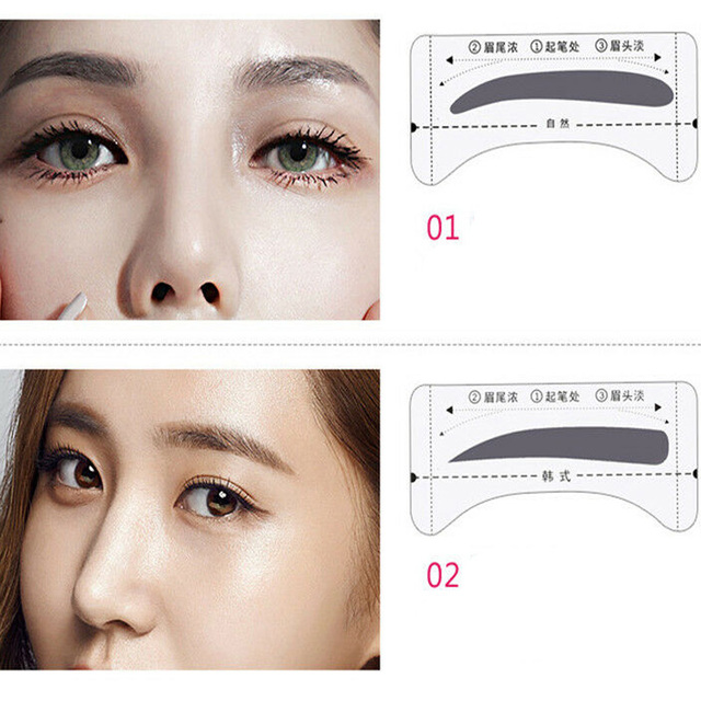 8Pairs Template Eyebrow Drawing Card Stickers Brow Stencil Make Up Grooming Tool 1