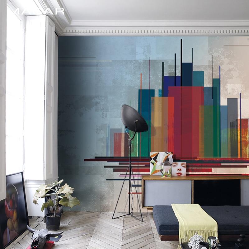 MASAR Color Abstract City Mural Living Room Corridor Background Wallpaper Environmental Protection Wallpaper City Of Colors