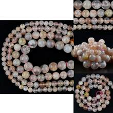 AAA Natural Gem Cherry Agates Stone Beads Pink Round Loose Beads For Jewelry Making Diy Bracelet Necklace Charm 6 8 10 12mm 15