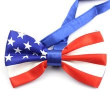 Mens Imitation Silk Pre-Tied Bow Tie Stars Stripes Printed American Flag Double Layer Bowknot Adjustable Patriotic Party Props stylish stars and stripes pattern bow tie for men