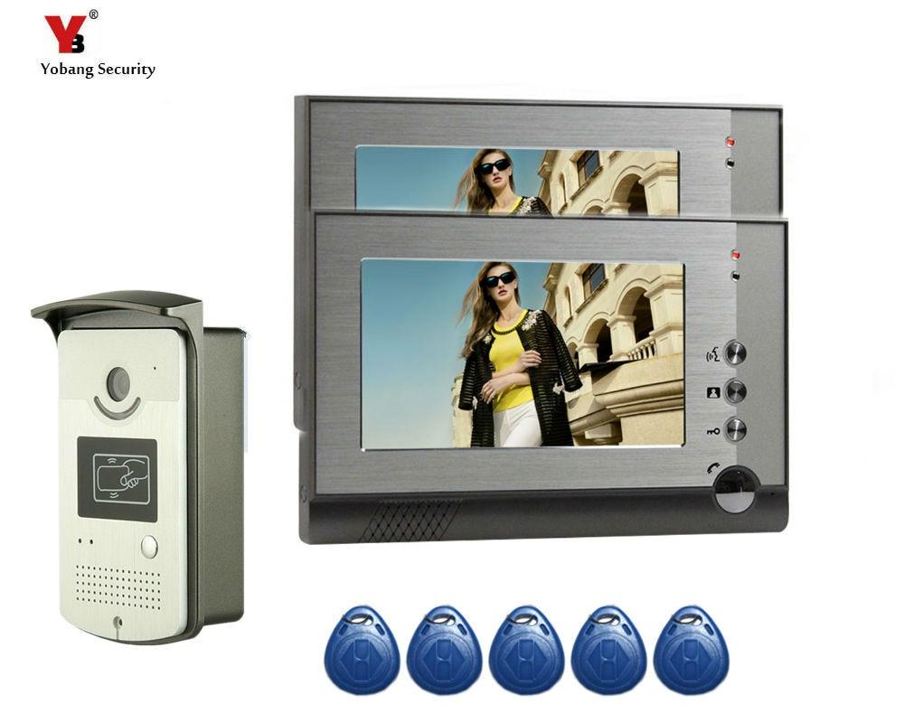 "7"" Video Door Phone Kit with 5pcs RIFD Keyfobs + Electric Lock + Door Exit for villa Video Doorbell video Intercom System"