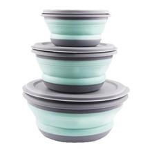 3 pçs/pçs/set conjuntos tigela de silicone dobrável lancheira dobrável tigela de silicone portátil dobrável tigela salada com tampa azul wf12