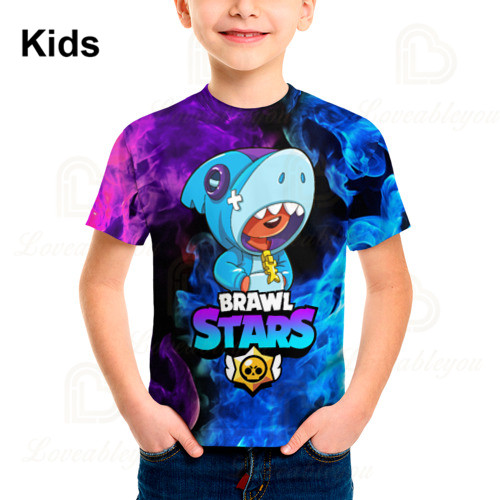 6 To 19 Years Kids Leon t shirts Brawling Spike and Star, Fashion Shooting Game PRIMO 3D Boys Girls Cartoon Tops Teen Clothes 2