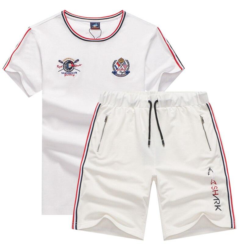 Summer Two Piece Set Men's Tracksuits Husband Brand Tace & Shark Man's T-shirt Shorts Cotton Jogging Sweatpants Track Suit Men