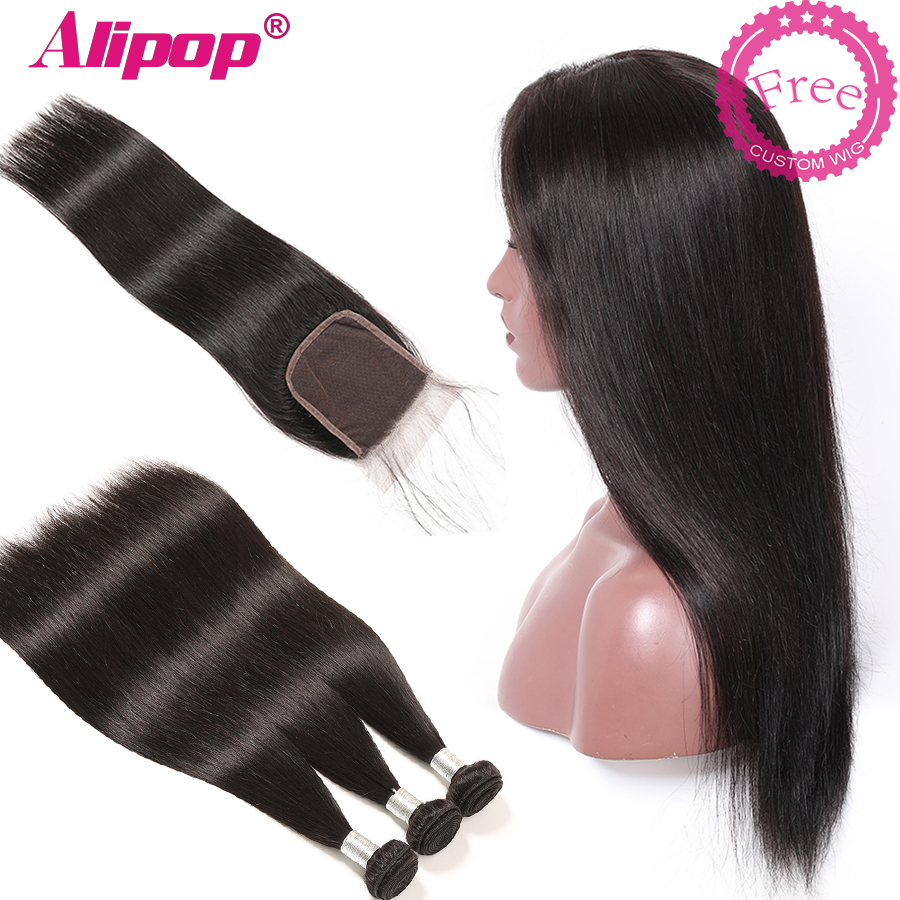 Brazilian Human Hair Bundles With Closure Can Be Customized A Wig For Free Straight Hair Bundles With Closure ALIPOP Remy Hair