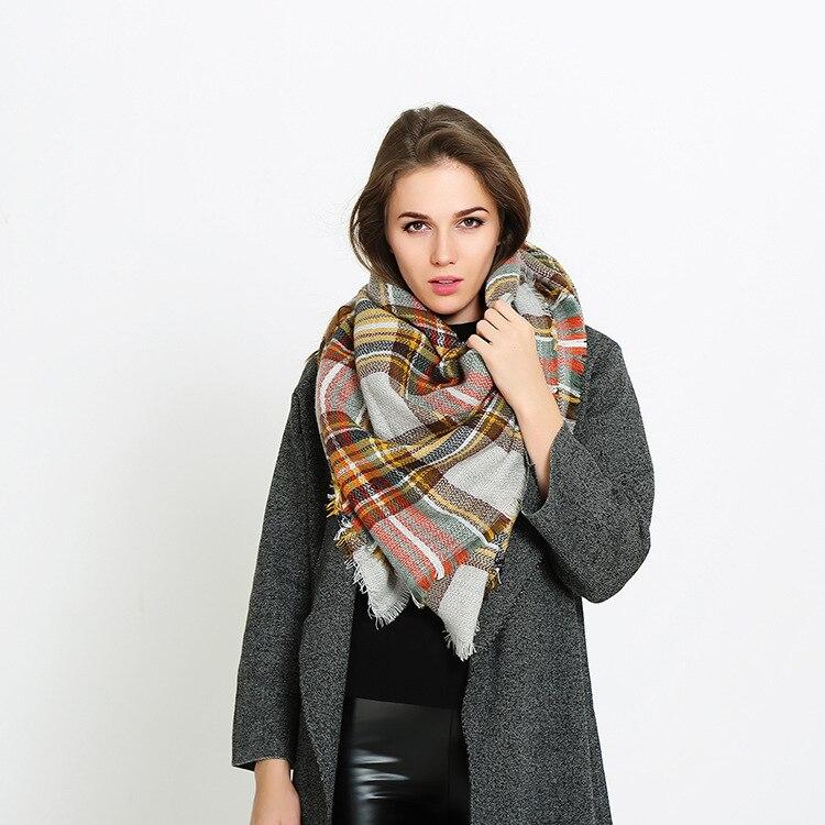 Hirigin Spring Autumn Winter FemaleHirigin Wool Plaid Scarf Women Cashmere Scarves Lattices Long Shawl Wrap Blanket Warm Tippet