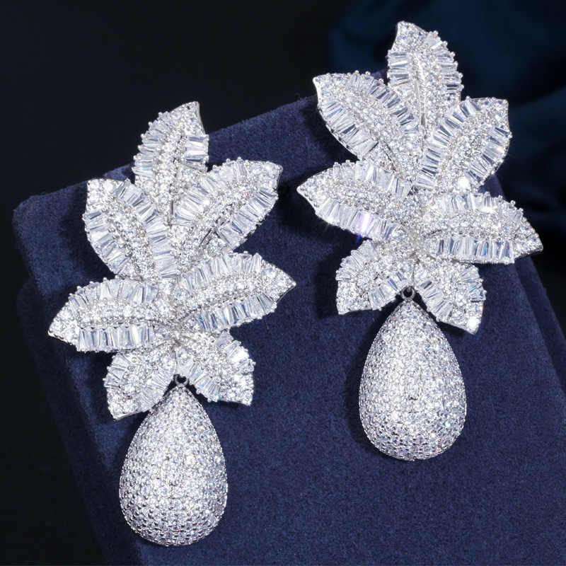 CWWZircons 3 TONE GOLD Luxury ขนาดใหญ่ Leaf DROP ดอกไม้ Micro Cubic Zirconia ปู Naija งานแต่งงานต่างหูผู้หญิง CZ644