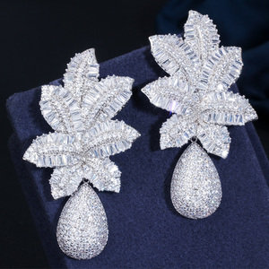 Image 4 - CWWZircons 3 Tone Gold Luxury Large Leaf Drop Flower Micro Cubic Zirconia Paved Naija Wedding Party Earring for Women CZ644
