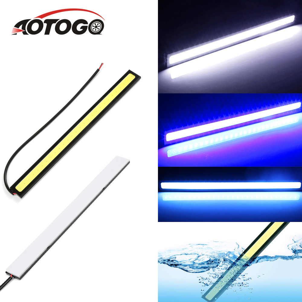 Mobil Siang Hari Berjalan Lampu COB Strip DRL LED Mobil Lampu Cahaya Eksternal Auto Tahan Air Mobil LED untuk Chery Tiggo untuk Universal