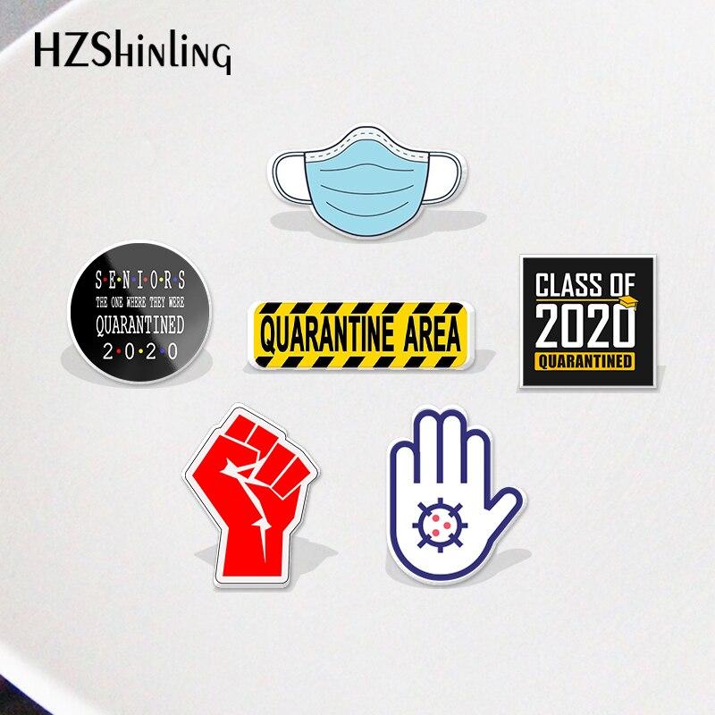 2021 класс 2020 карантин маска социальная дистанция Узор Акриловый значок булавки на лацканы значок эпоксидной смолы