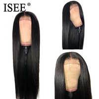 Pelucas frontales rectas de encaje para mujeres negras 13X4 pelucas de cabello ISEE de 24/26 pulgadas pelucas de pelo humano de frente de encaje Malasio de densidad 150%