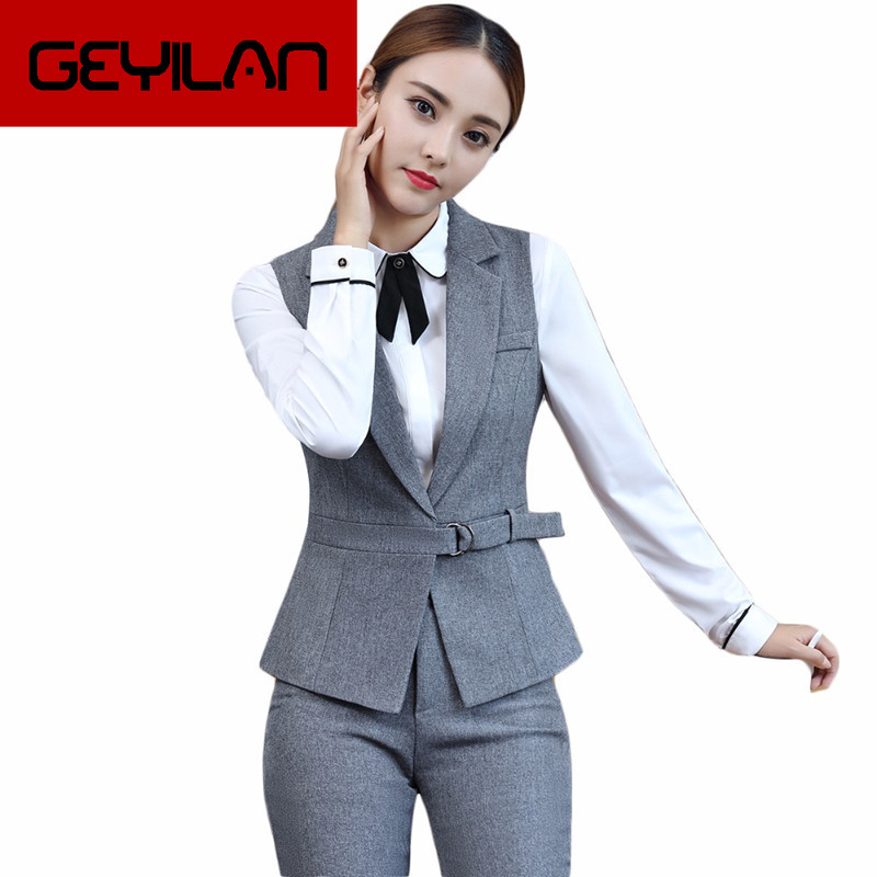Elegant Women Pant Suits Casual 2 Piece Set Waistcoat Vest and Pants with Belt Women's Jacket Blazer Female Office Lady Outfits
