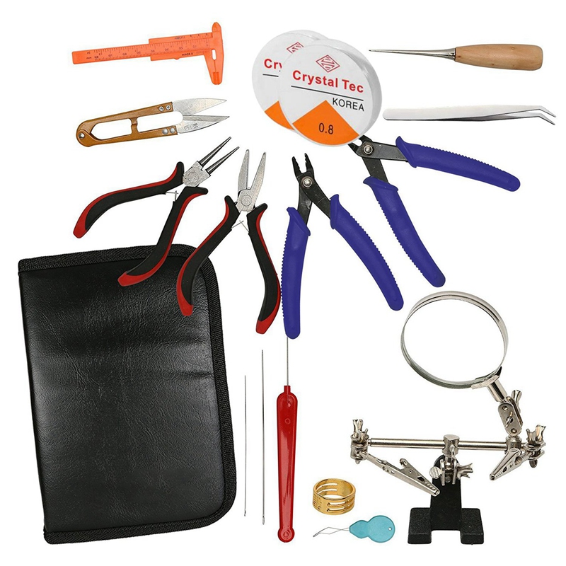 1 Set Jewelry Making Supplies Kit - Jewelry Pliers, Magnifier Stand & Bead Crimper Great For Beading, Wire Wrapping