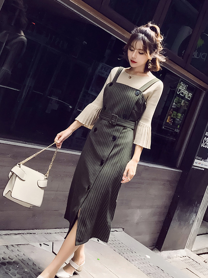 New 2020 Womens Suits 2 Pieces Office Sets Ladies Elegant Double Breasted Dress Female Knitted Sweater LX2177