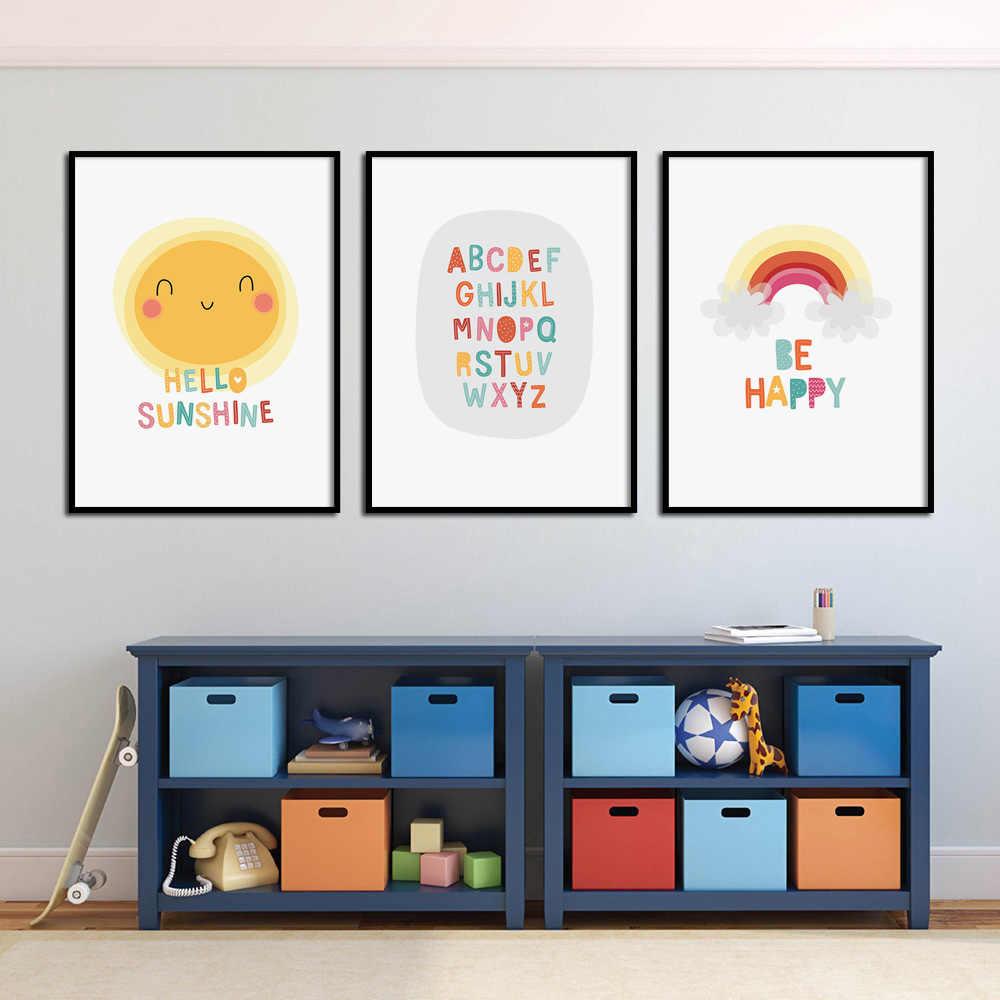 الكرتون مضحك مرحبا أشعة الشمس الحضانة يطبع الرسم على لوحات القماش الجدارية الشمال الملصقات والمطبوعات جدار صور بوي الاطفال غرفة ديكور