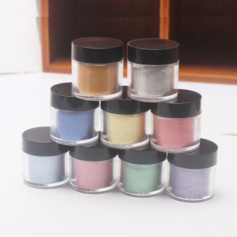 9 9 Pcs/set Pearlescent Mica Pigment  Pearl Powder UV Resin Crystal Epoxy Craft DIY Jewelry Making Slime Toning Color Highlight