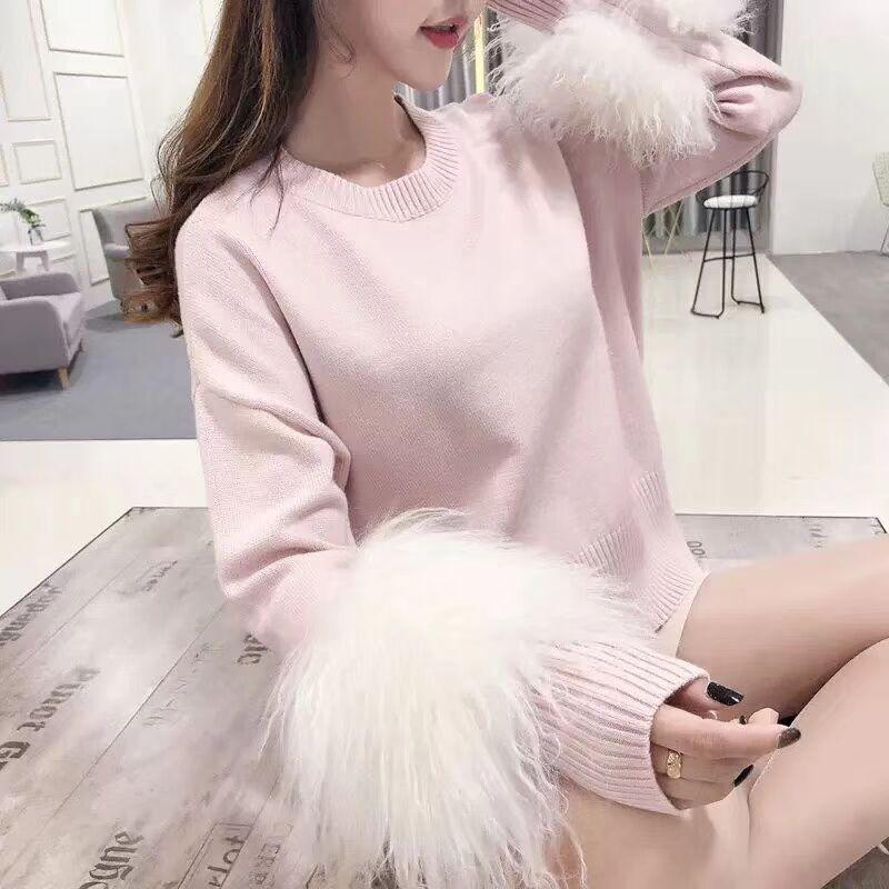Agneau fourrure manches Patchwork femmes tricot pull mode chaud col rond à manches longues laine pull pull coréen chandail