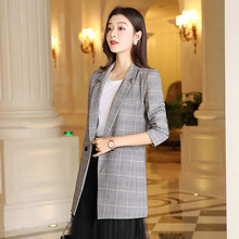 Office Dames Notched Kraag Plaid Vrouwen Blazer Double Breasted Herfst Jas 2019 Casual Zakken Vrouwelijke Suits Coat(China)