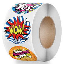 English Words Reward Sticker for Kids 500pcs/roll Cartoon Pattern Encouragement Child Cute Sticker Labels for Teacher Supplies