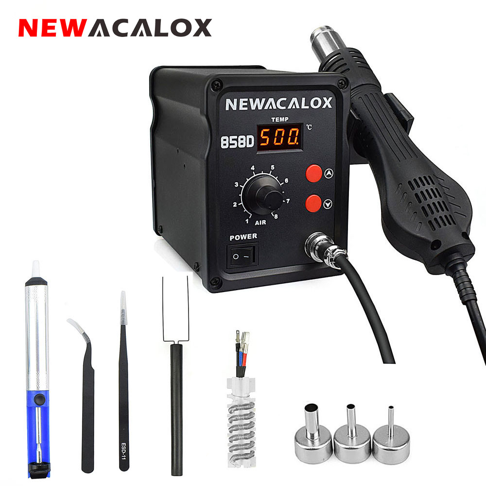 NEWACALOX 858D 700W EU/US Hot Air Gun SMD BGA Rework Soldering Station Industrial Hair Dryer Heat Gun Desoldering Welding Tool