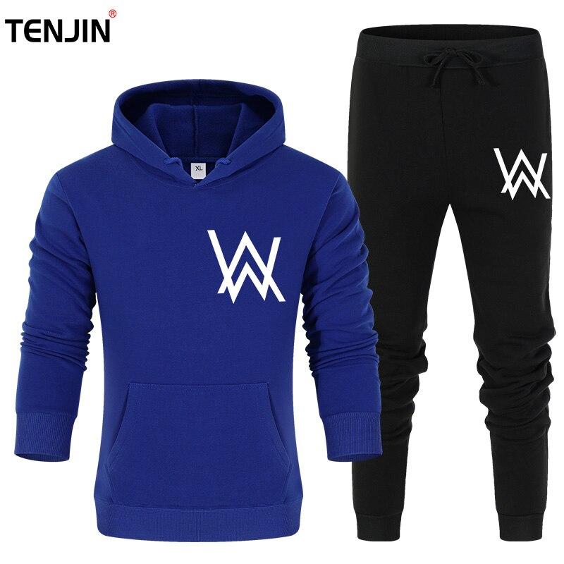 2019 Running Sets Men Sport Suits Sportswear Set Polyester Fleece Thick Gym Cycling Tracksuit Zip Pocket Jogging Suit pants suit