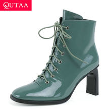QUTAA 2020 Spitze Up Karree Kuh Patent Leder Mode Stiefeletten Platz High Heel Zipper Herbst Winter frauen schuhe size34-43(China)