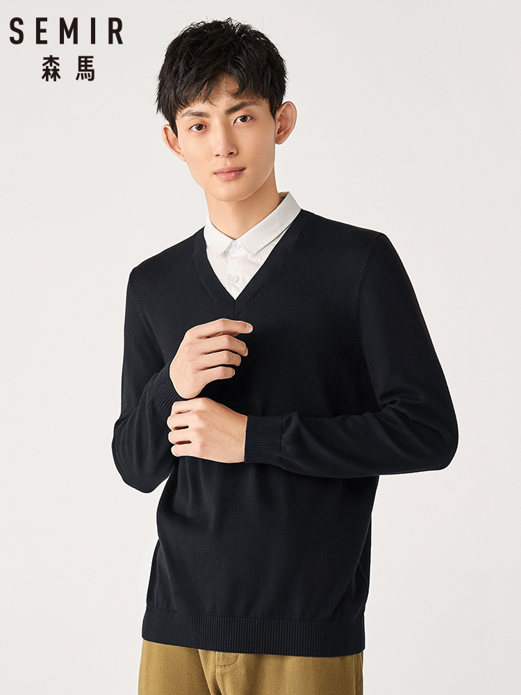 Semir Sweater Men New Fake Two-piece Cotton Pullover Sweater 100% Men's 2019 Spring And Autumn Korean Student Sweater