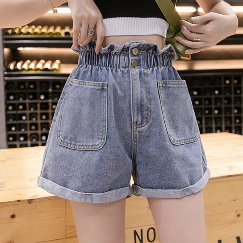 Plus Size Summer Short Jeans Elastic Waist Roll Hem Denim Shorts For Women S M L XL 2XL 3XL 4XL 5XL