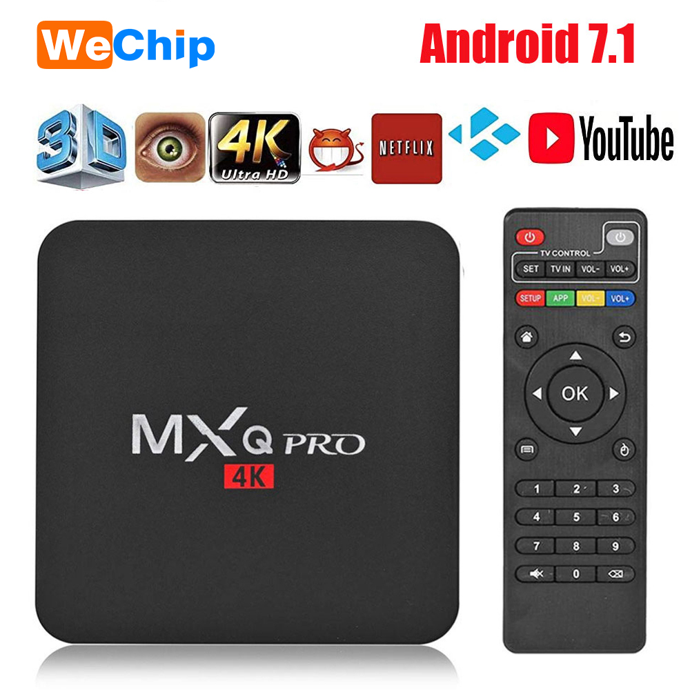 Wechip <font><b>MXQ</b></font> <font><b>PRO</b></font> <font><b>4K</b></font> Android 7.1 <font><b>TV</b></font> <font><b>Box</b></font> Smart <font><b>tv</b></font> Google Voice Assistant Netflix Youtube Media player 2.4gWiFi 2GB 16GB Set Top <font><b>Box</b></font> image