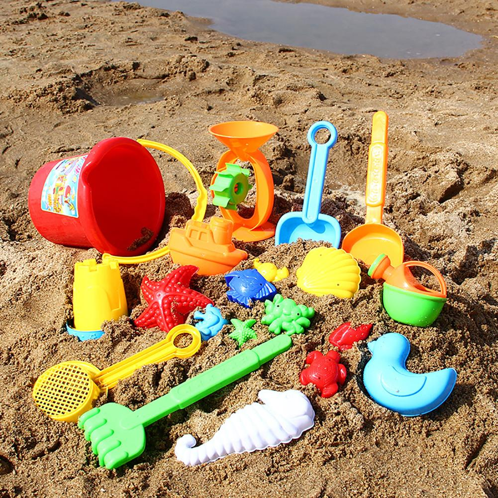 Kids Sand Beach Toys Castle Building Bucket Spade Shovel Fish Model Tool Set Castle Building Tool