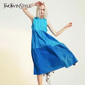 TWOTWINSTYLE лоскутное хит цвет женское платье с круглым вырезом Спагетти ремень высокая Талия Ruched платья для женщин Весенняя модная одежда