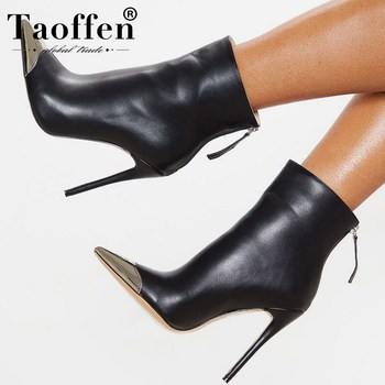 TAOFFEN 2020 Women Thin High Heels Ankle Boots Zipper Pointed Toe Party Brand High Quality Short Boots Footwear Size 33-43