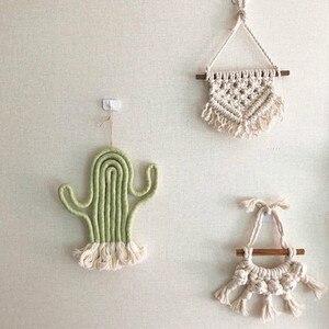 Image 2 - Colgante de pared de macramé nórdico tejido a mano de algodón, tapiz de pared pequeño, cabecero de habitación para niños, accesorios de fotografía, decoración Bohemia