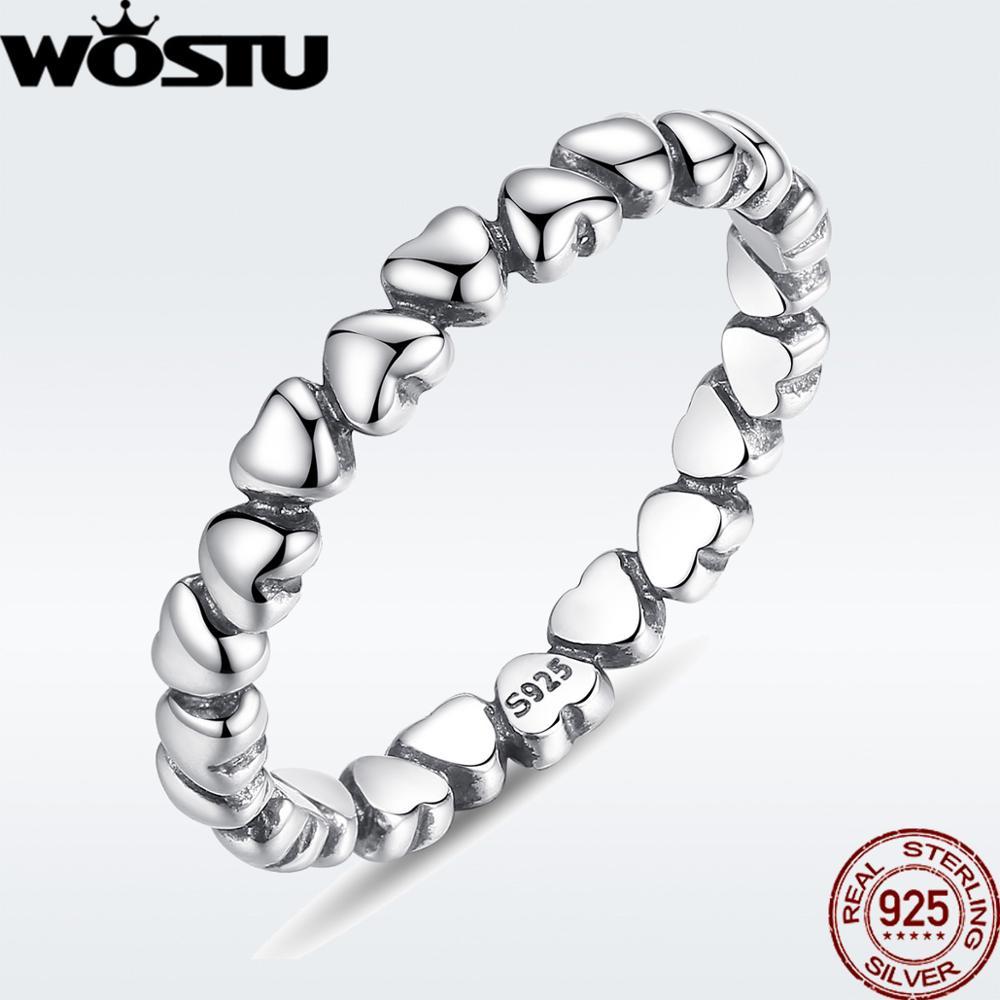 WOSTU Hot Sale 925 Sterling Silver Rings For Women European Original Wedding Fashion Brand Ring Jewelry