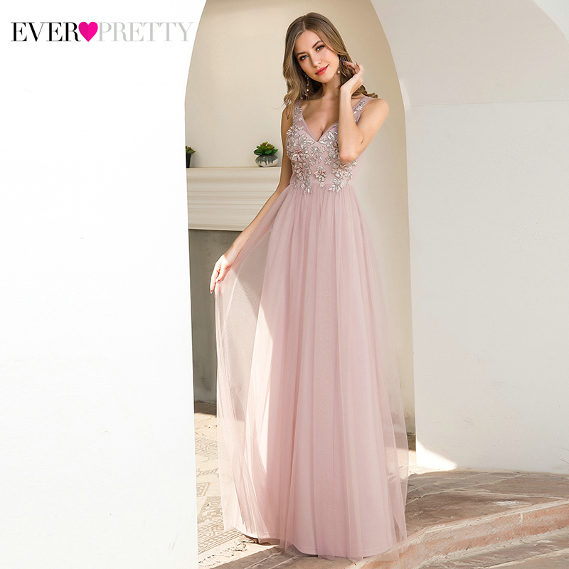 Elegant Pink Prom Dresses Long Ever Pretty A-Line V-Neck Appliques Sleeveless Tulle Simple Party Gowns Vestido Formatura 2020
