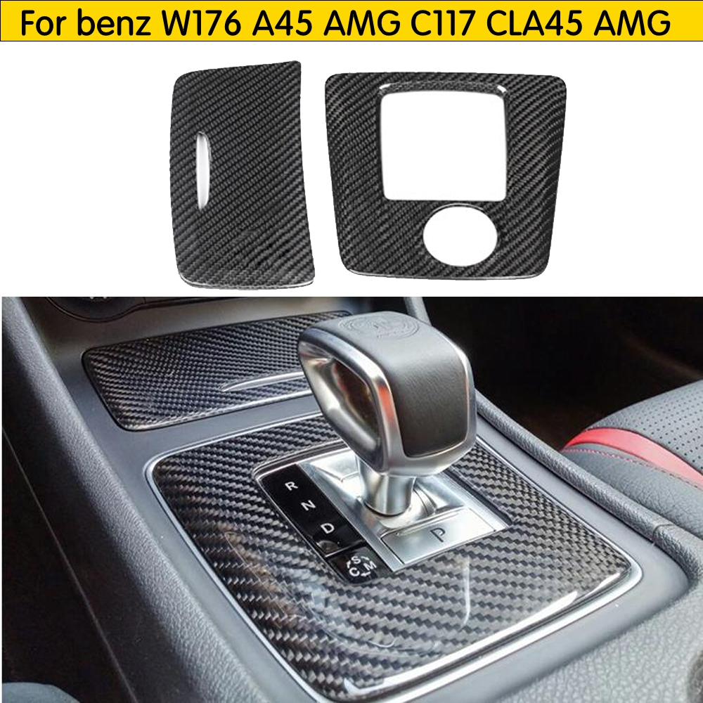 interior Trim For <font><b>Mercedes</b></font>-benz <font><b>CLA45</b></font> <font><b>AMG</b></font> A45 GLA45 Carbon Fiber Gear Surround Compartment Base Cover accessories LHD & RHD image