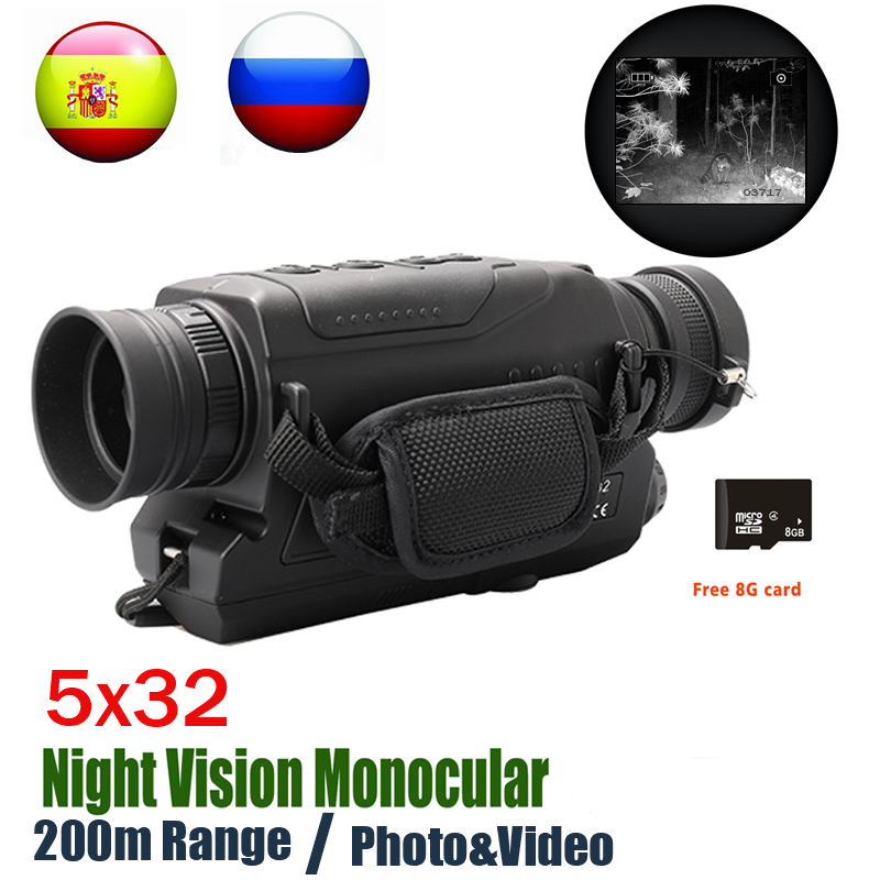 Monocular-Mount Telescope Night-Vision Hunting NV 5MP 8G 200m-Range Tf-Card Send Optics