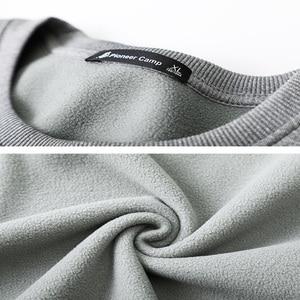 Image 5 - Pioneer Camp Warm Fleece Men Hoodies Sweatshirts no Hood Causal O neck Black Gray Winter Hoodie for Men AWY902385