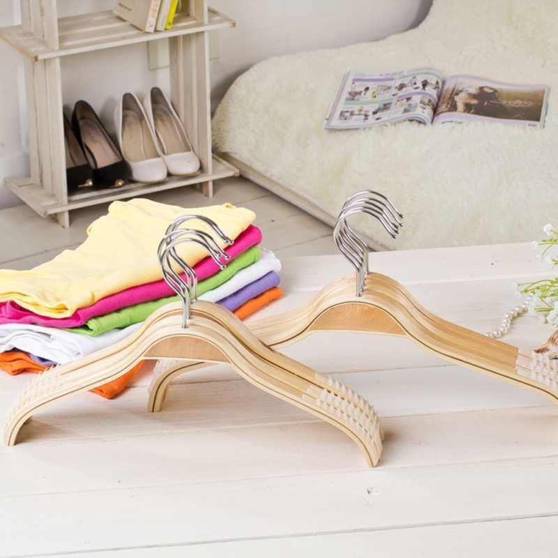 32 cm/38 cm/42 cm niños adultos antideslizante percha de madera con Clips de goma Mini lavandería perchas para ropa con gancho