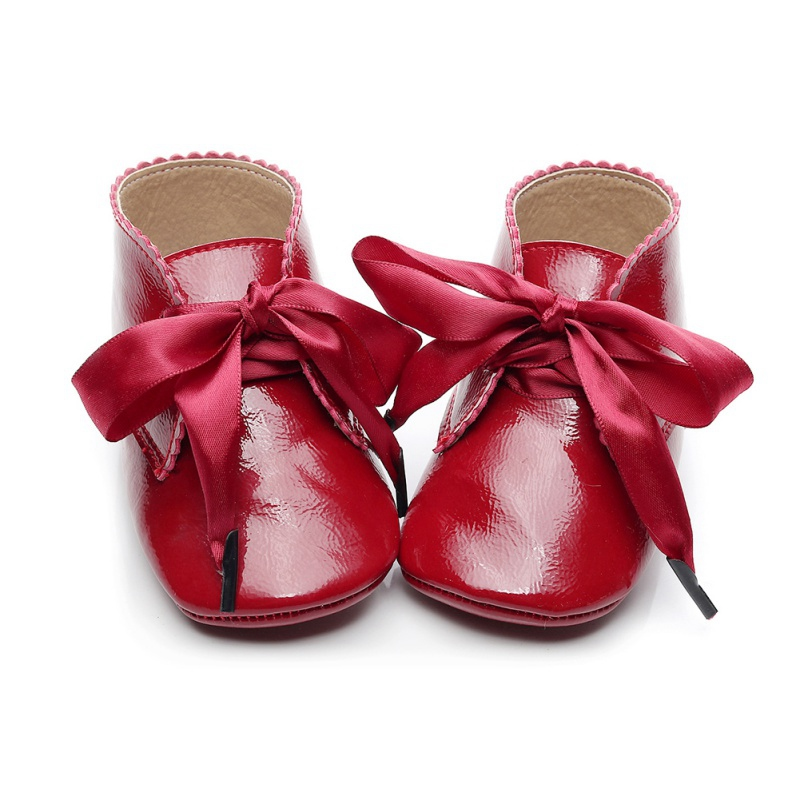 Baby Girl Shoes Bow Lace Up PU Leather Princess Baby Shoes First Walkers Newborn For Girls Red Black Pink