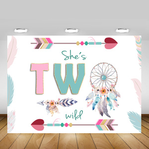 She's Two Wild Backdrop Boho Wild Birthday Party Decoration Background 2nd Birthday Party Backdrops for Girls Photocall