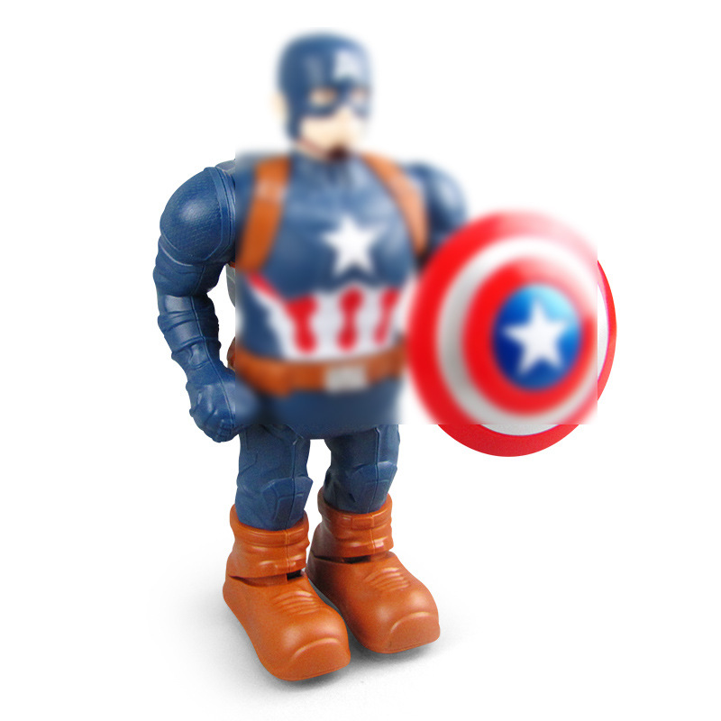 Electric Dance Doll Hero Super Hero Captain America Action Figure Toys Led Flashlight And Music Toy Gift